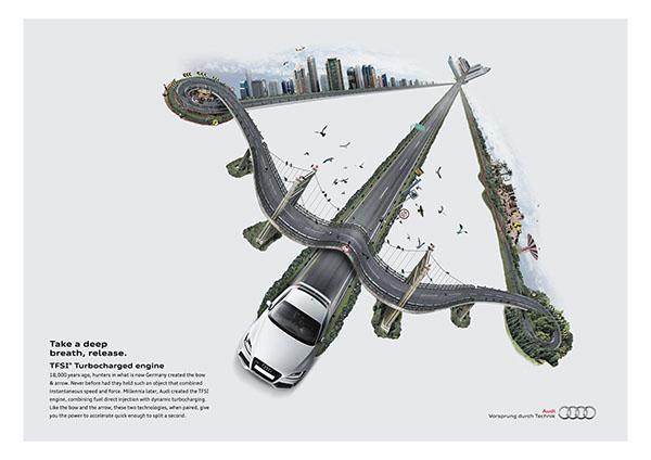 黎巴嫩奥迪汽车创意广告图片